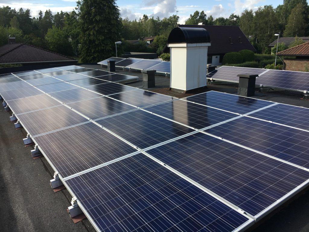Solceller på tak, villa