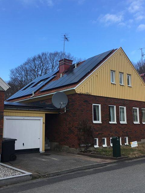 Solceller på villa i Mölndal
