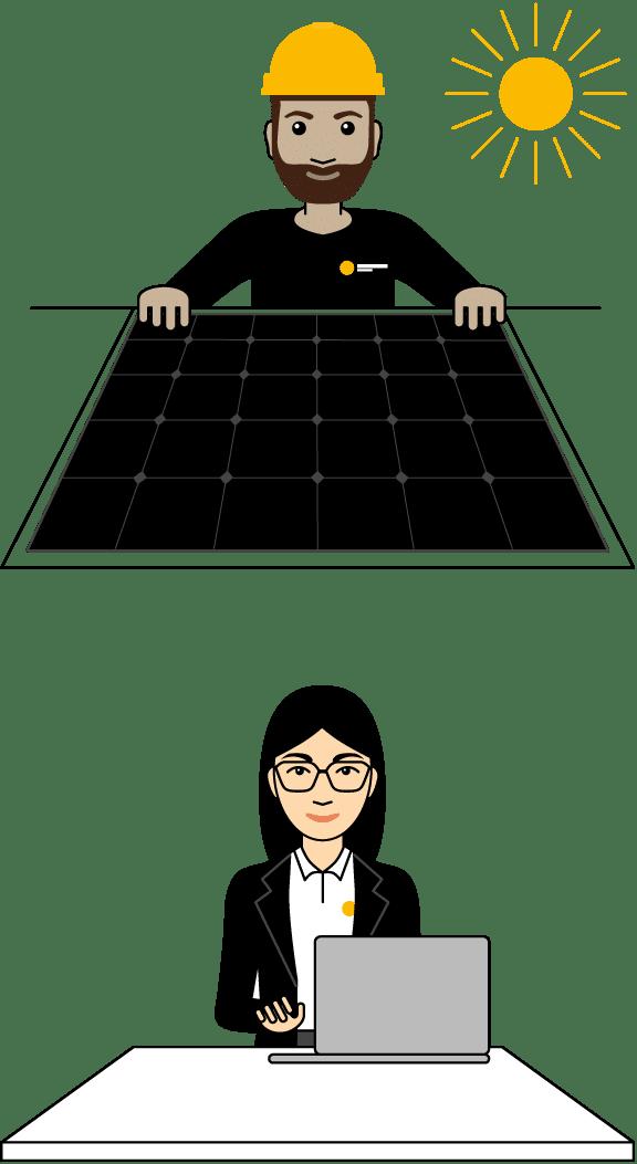 Illustration solcellsmontör och rådgivare