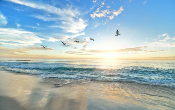 Strand vid värmebölja